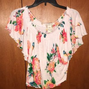 White Flowy Floral Top